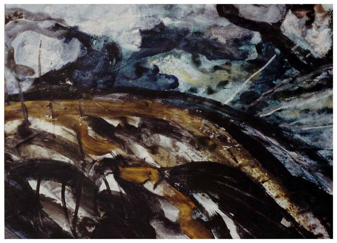 "Jan Budding ""Woest Landschap"" acryl."