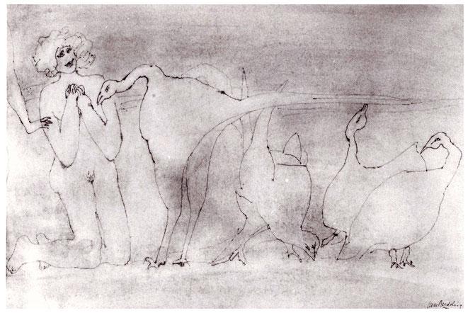 """Jan Budding """"Leda en de kippen"""" gewassen inkttekening."""