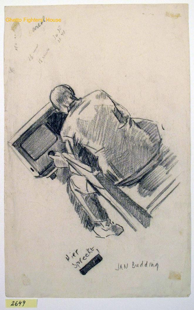 Jan Budding WO 2 vóór Sachsenhausen tekening illegaal luisterend naar Engelse radio.