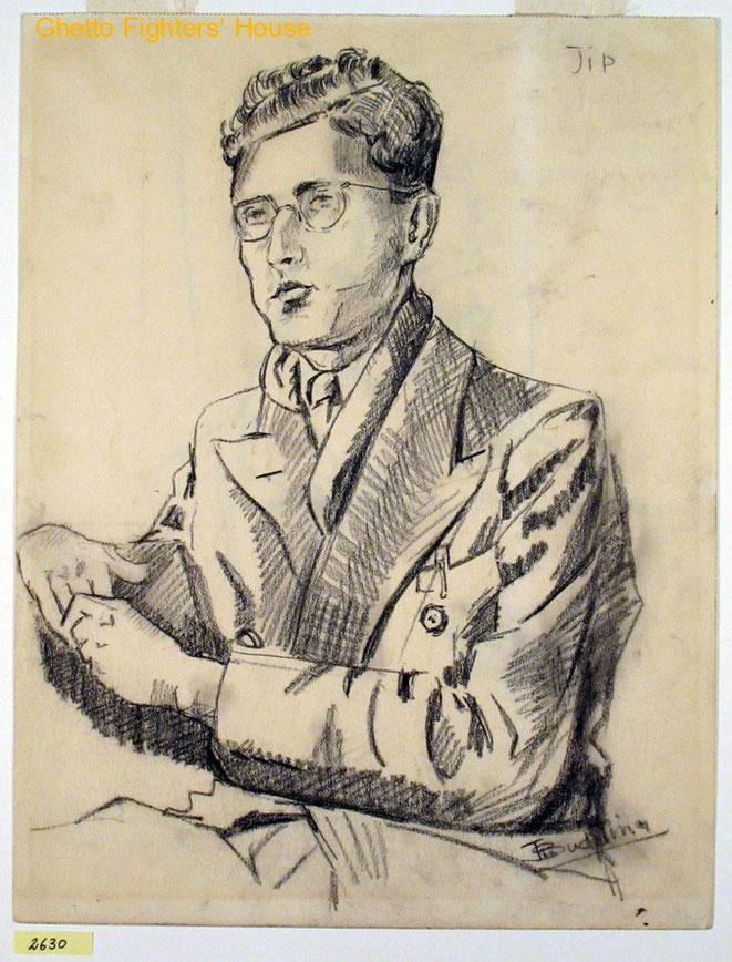 Jan Budding WO 2 tekening kamp Sachsenhausen, Germany, (portret medegevangene De Vries).