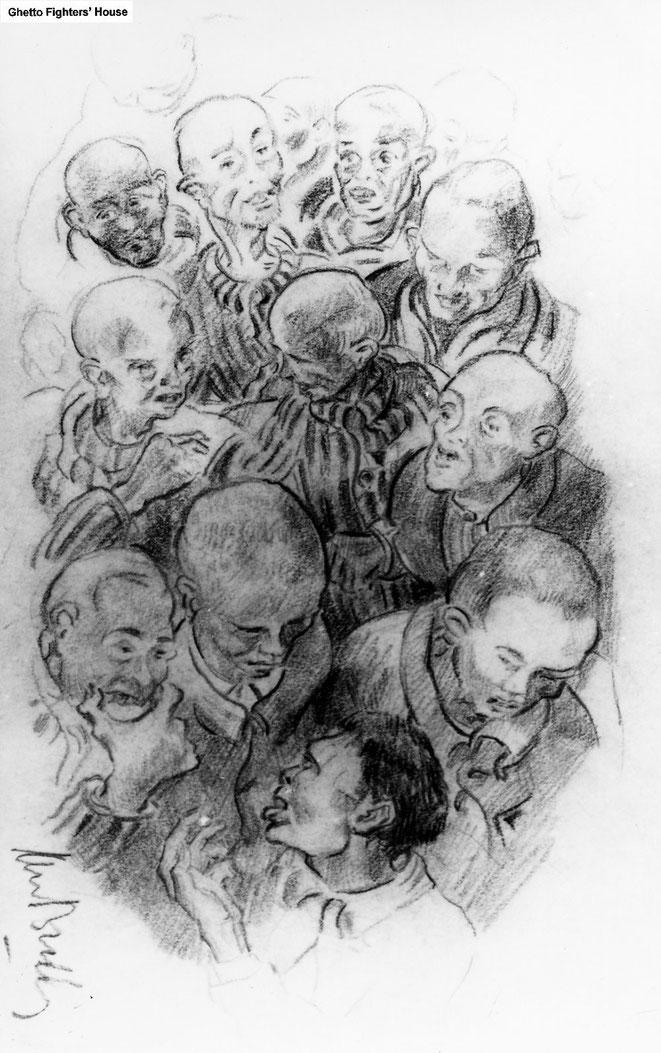 Jan Budding WO 2 tekening kamp Sachsenhausen, Germany (medegevangenen).
