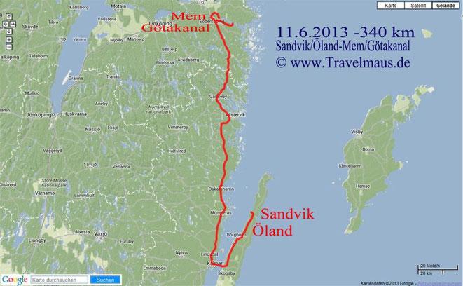Sandvik-Mem ca. 340 km