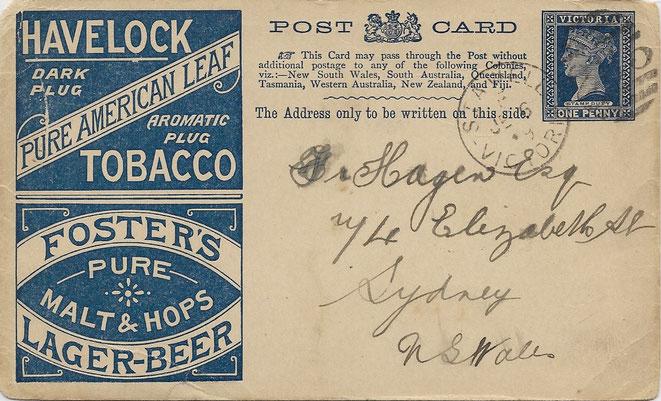 Ganzsache Bier und Tabak Victoria gebraucht