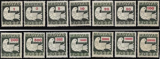 Pengö Dauermarken 3.7.1946 bis 13.7.1946, Hyperinflation
