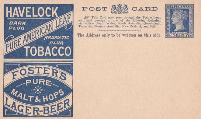 Ganzsache Bier und Tabak Victoria ungebraucht