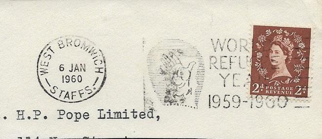 Briefausschnitt zurückgezogener Queen Stempel Weltflüchtlingsjahr mit langer Nase