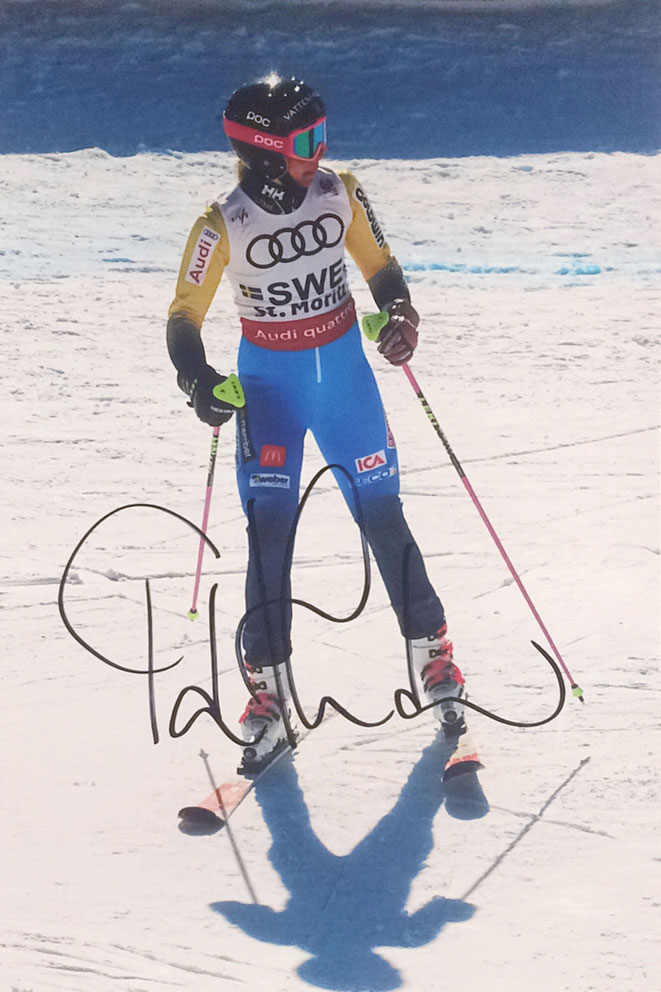 Frida Hansdotter Sweden, twice Silver Medal at Worldchampionships in Schladming and Vail, Slalom Worldcup 2016, 2 Bronze Medals Worldchampionship St. Mortiz 2017, Olympia Gold 2018, Picture taken Worldchampionship St. Moritz 14.02.2017, Autograph by Mail