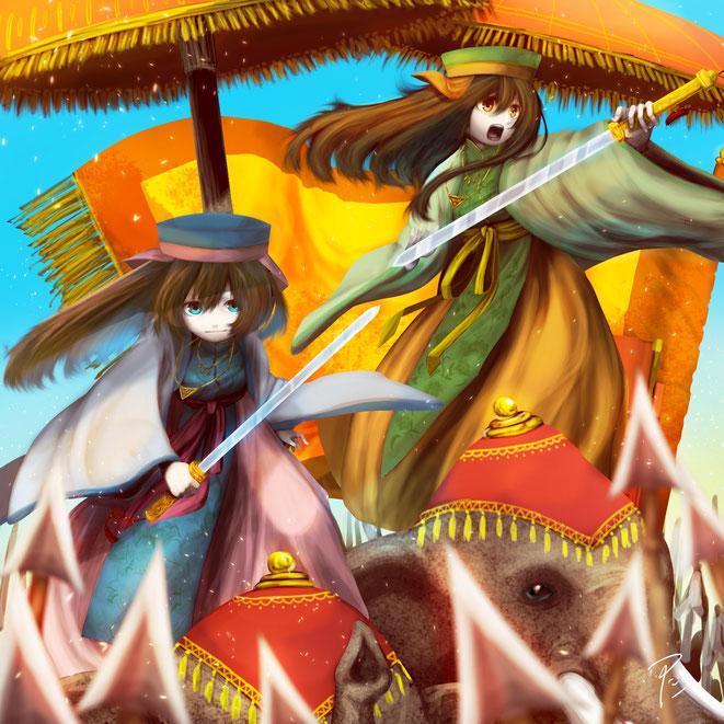 illust Hai Ba Trung Hai Bà Trưng  ハイバーチュン trung sisters by 津田子  TSUDAKO
