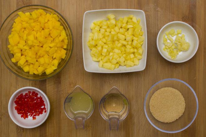 Mango-Ananas Chutney Rezept selber machen exotisch indisch Sauce Mango-Sauce