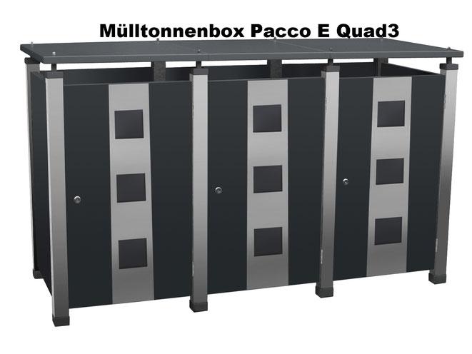 Eine Mülltonnenbox für alle Mülltonnen, die Mülltonnenverkleidung Pacco ist beliebig erweiterbar.