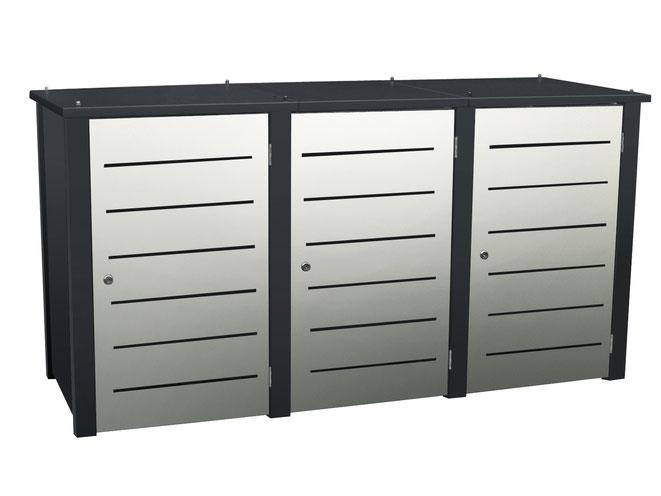 Die Mülltonnenbox Campa ist in vielen Varianten lieferbar.