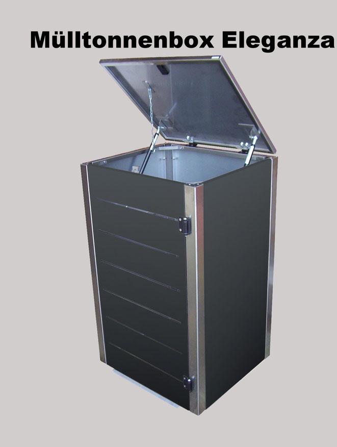 Stabil, solide und hochwertig verarbeitet, die Mülltonnenbox Eleganza.