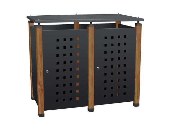 Mülltonnenboxen Pacco gibt es mit Edelstahl- oder Holzpfosten.