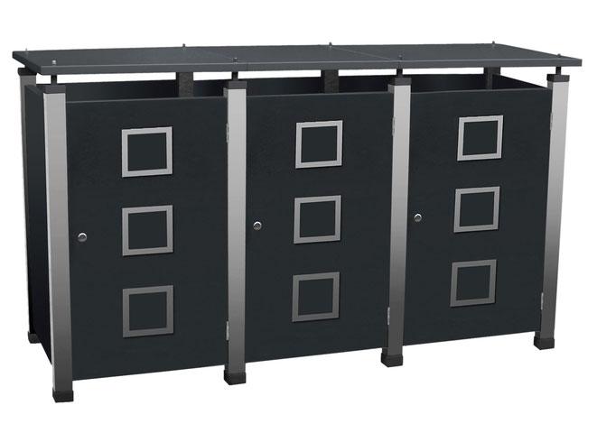 Mülltonnenboxen der Serie Pacco ermöglichen ein vielfältiges Türen- und Farbdesign.