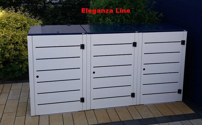 Mülltonnenboxen können im Edelstahlfinish oder in Farbe Pulverbeschichtet werden.