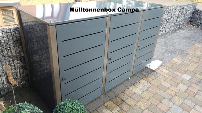 Schöne Mülltonnenboxen von Riba-projekt sind in vielen Farben und verschiedenen Grössen erhältlich.