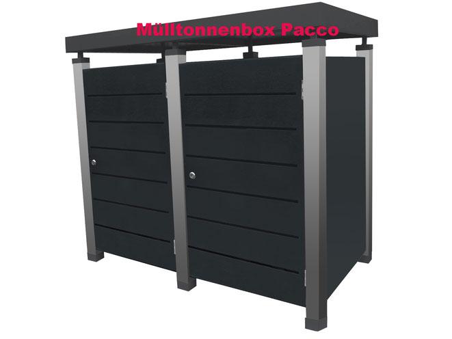 Mülltonnenverkleidungen von Riba-Muelltonnenboxen.de gibt es in den verschiedensten Modellen auch mit Pflanzwanne.