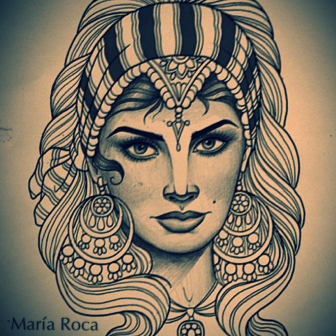 maria roca, gipsy, gitana, tattoo, new traditional, neotraditional, neotradicional, tatuaje madrid, tattoo sketch