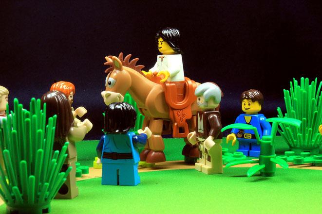 Jesus auf Esel nach Jerusaelem, Mk 11,1-11