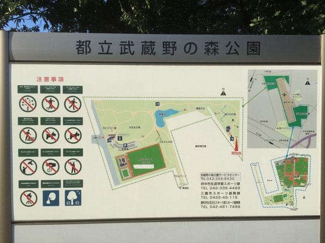 Guide Map of Musashino no mori Park Tokyo Mitaka Chofu Fuchu walking picnic historical tourist spot TAMA Tourism Promotion - Visit Tama 都立武蔵野の森公園 東京都三鷹市 調布市 府中市 散策 ピクニック 歴史 観光スポット 多摩観光振興会