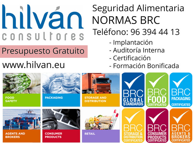 BRC FOOD Versión 7. V 6.1 CERTIFICADORES BRC IOP PACKAGING. BRC STORAGE AND DISTRIBUTION. BRC CONSUMER PRODUCTS. BRC AGENTS BROKERS. BRC RETAIL Consultoría y auditores en Valencia, Alicante y Castellón.
