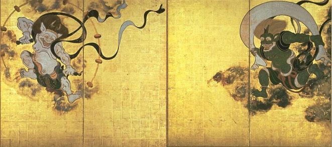 Fujinraijin-tawaraya, Japanische Mythologie, Japanische Tattoomotive, Japanese Tattoo, Donnergott, Windgott, Japanische Tattoos und ihre Bedeutung, Oni