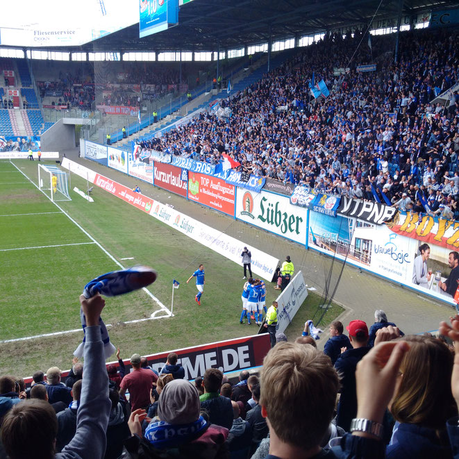 FC Hansa Rostock - Rot Weiß Erfurt / 30.04.2016 - Kurz nach dem 1:0 durch Andrist