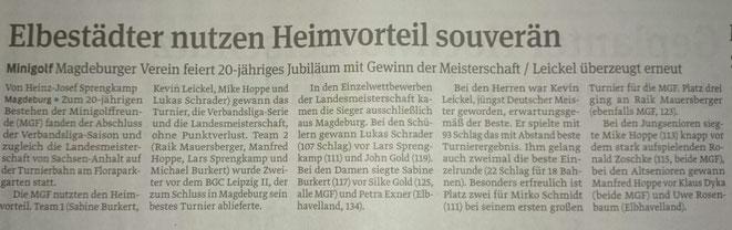 Jubiläumsturnier 20 Jahre MGF Magdeburg Saison 2015