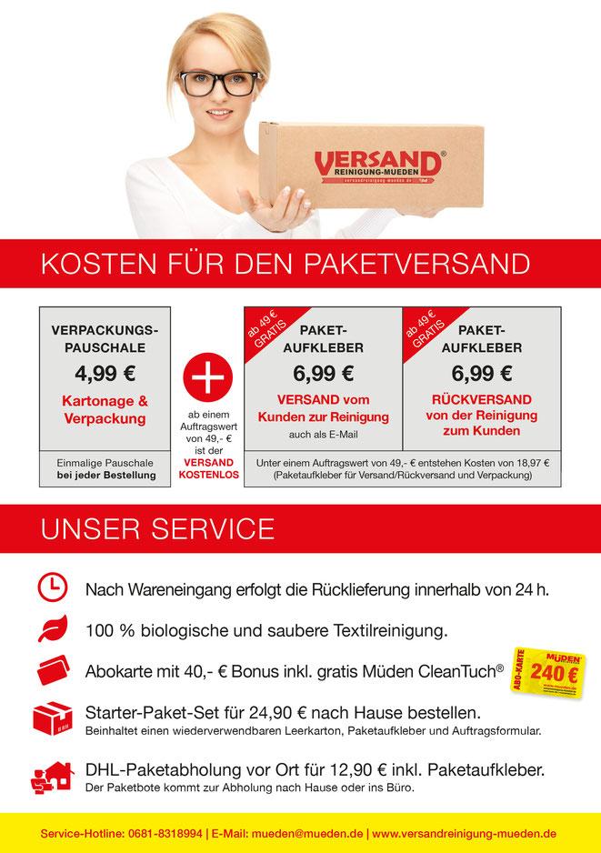 versandreinigung-mueden.de, Versand & Kosten, Flyer Versandkosten