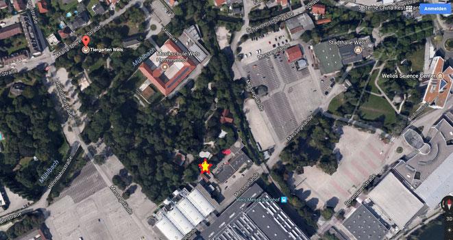 Treffpunkt: beim gelb-roten Stern, Eingang auf der Seite des Messegeländes