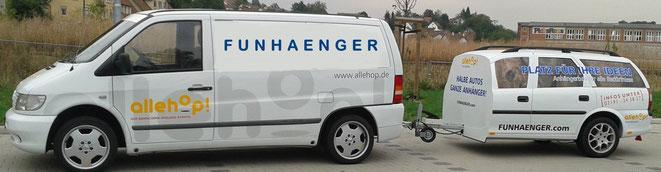 Halbe Auto Werbeanhänger