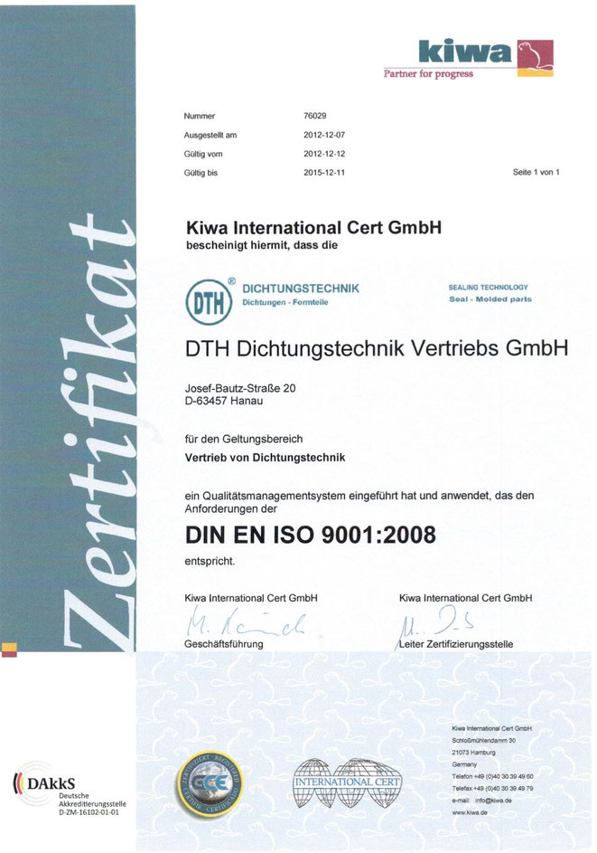 Zertifikat Kiwa International Cert GmbH