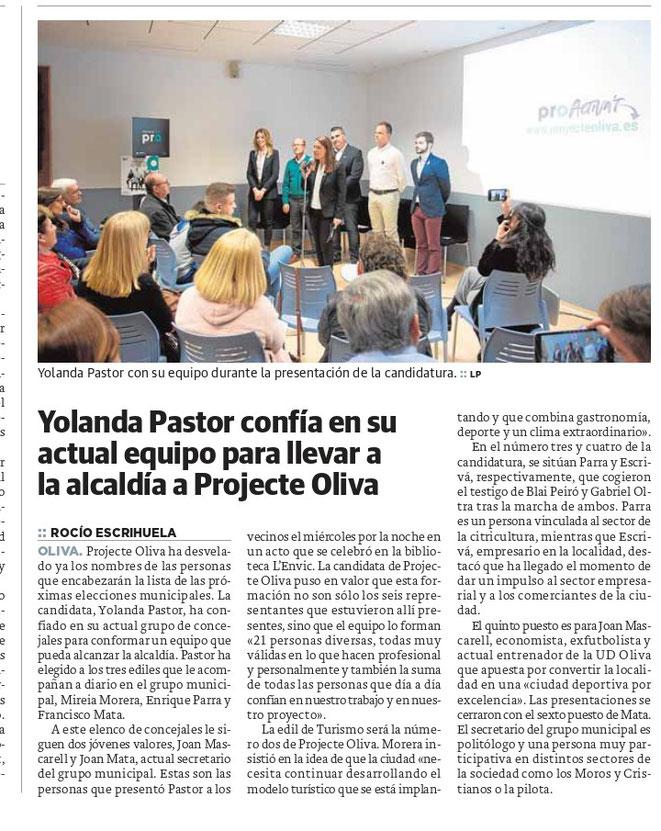 Yolanda Pastor confía en su actual equipo para llevar a la alcaldía a Projecte Oliva