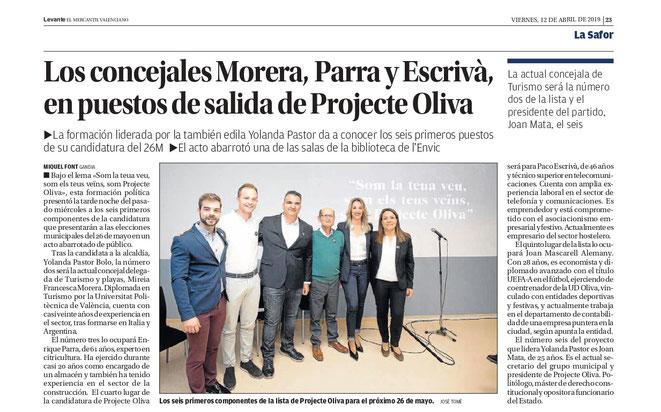 Los concejales Morera, Parra y Escrivà, en puestos de salida de Projecte Oliva