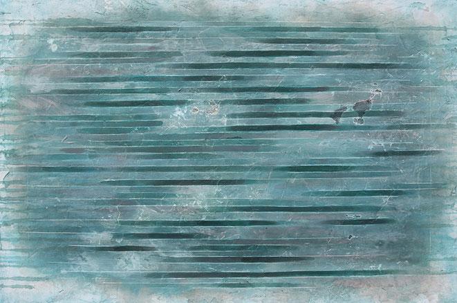 abstraktes Bild · Weiss · Grau · Türkis · Spiegelungen · Patrick Öxler · Wiede Fabrik · Atelier