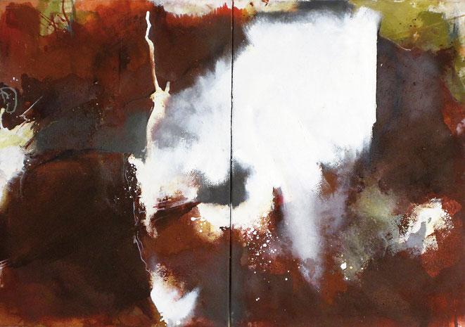 abstraktes Bild · Weiss · Rot · Grau · Patrick Öxler · Wiede Fabrik · Atelier