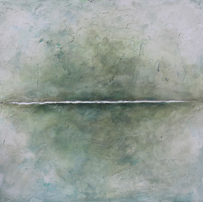 abstraktes Bild · Weiss · Blau · Grün · Patrick Öxler · Horizont · Wiede Fabrik · Atelier