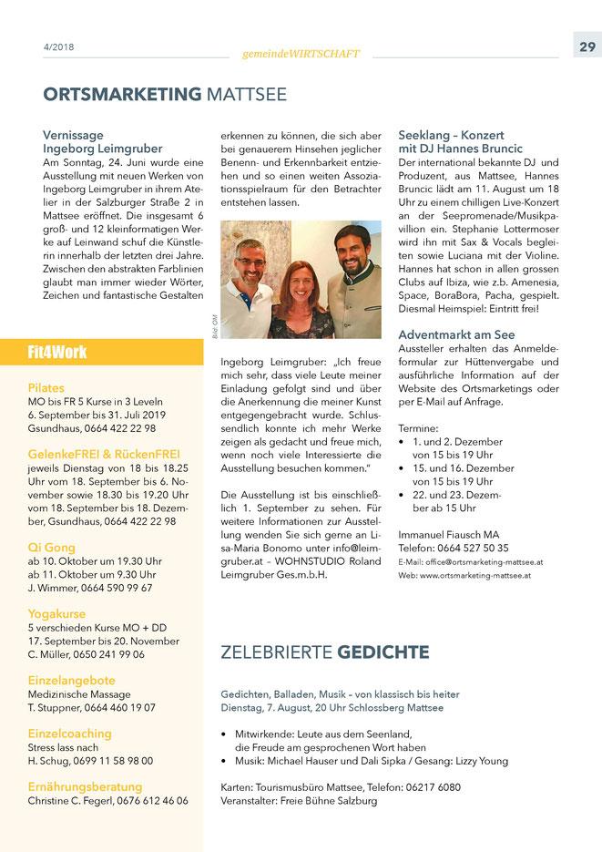 """Bürgerinformation Mattsee 2018-08, Wirtschaftsteil """"Ortsmarketing"""""""