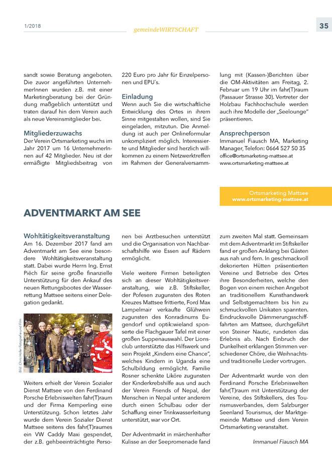 """Bürgerinformation Mattsee 2018-02, Wirtschaftsteil """"Ortsmarketing"""""""