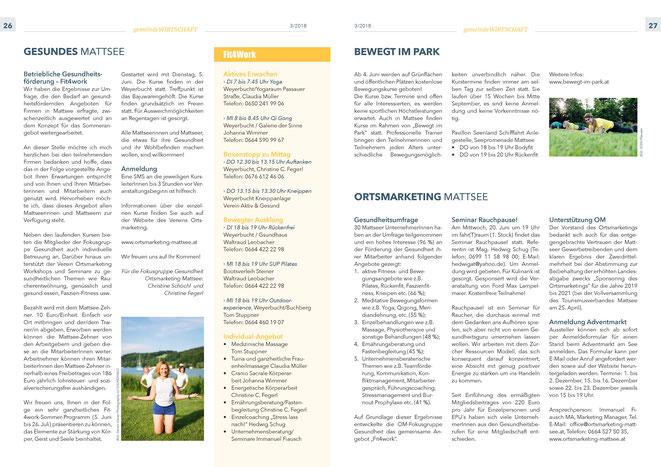 """Bürgerinformation Mattsee 2018-06, Wirtschaftsteil """"Ortsmarketing"""" und """"Gesundes Mattsee"""""""