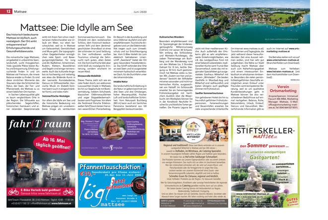Salzburger Fenster + Zeitschrift Mittendrin (Salzburger Verlagshaus) PR Sommertourismus, 2020-06