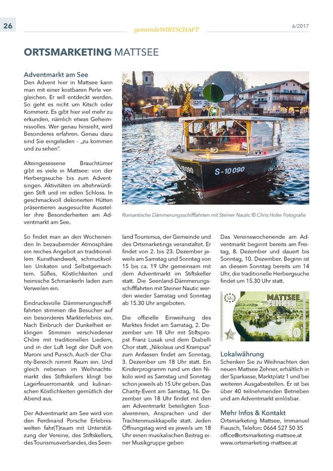 """Bürgerinformation Mattsee 2017-11, Wirtschaftsteil """"Ortsmarketing"""""""