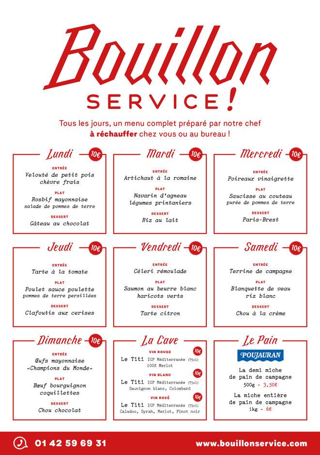 PARIS : Un service « très bouillon » de vente à emporter ou à commander. Entrée, plat, dessert pour 10 euros !.