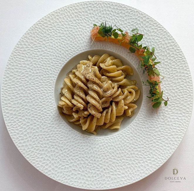 Fussilini caccio pepe tartare de crevettes rouge - SAINT TROPEZ (83) : Le Pan Deï Palais