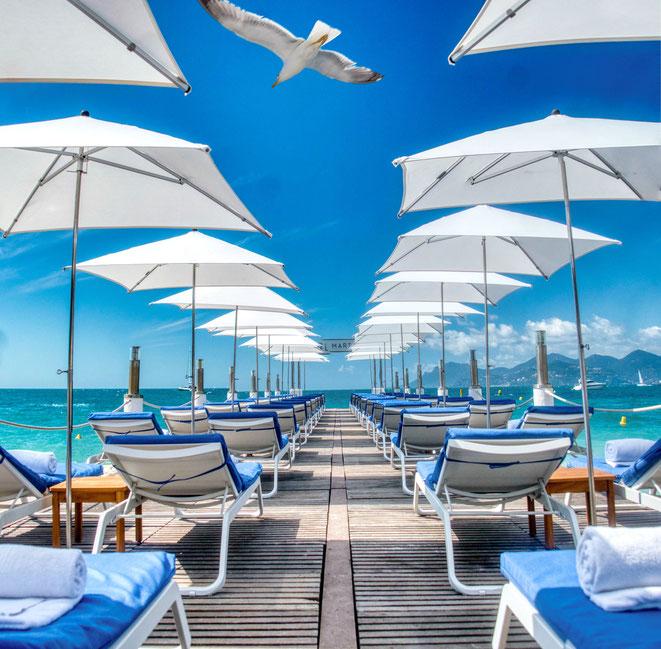 CANNES : L'Hôtel Martinez rouvre sa plage privée ce vendredi 5 juin 2020 - ©Qorz