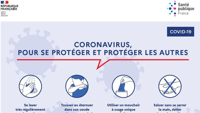 Les gestes barrières contre le coronavirus - Soyons discipliné ! - Souce gouvernementale