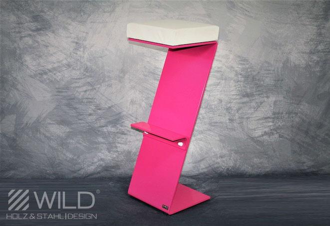 Moderner Barhocker in pink oder rosa aus Edelstahl mit bequemer Sitzfläche