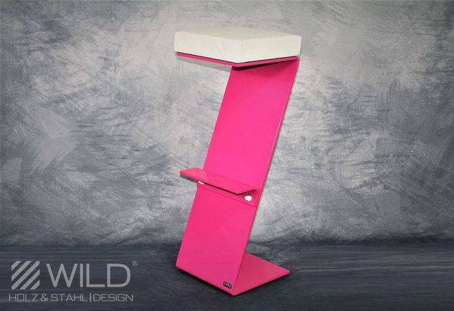 Pink modern bar stool made of stainless steel with comfortable seat.