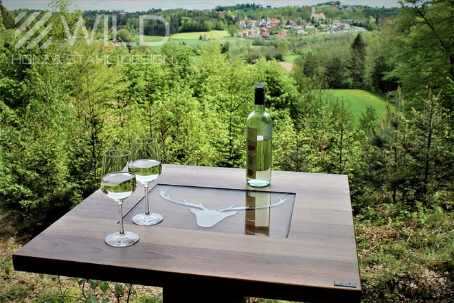 Stainless steel bar table for gastronomy in robust construction buy online, stainless steel bar table for outdoor apres ski, high quality bar table with square top designed by WILD DESIGN from St. Josef in the theater village of Western Styria