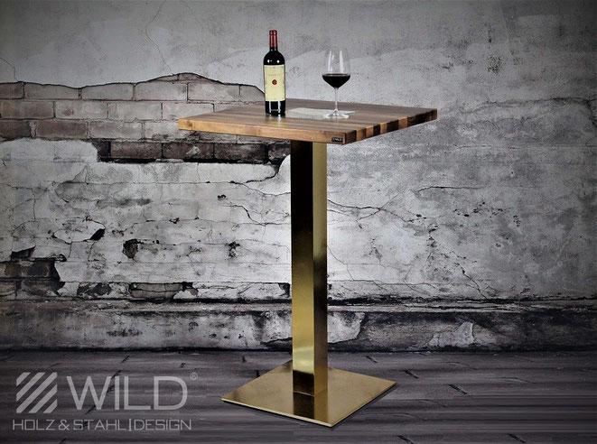 Designer Stehtisch aus Holz und Metall